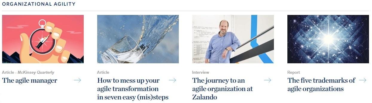 Eine Auswahl von Artikeln zur Agilität bei McKinsey