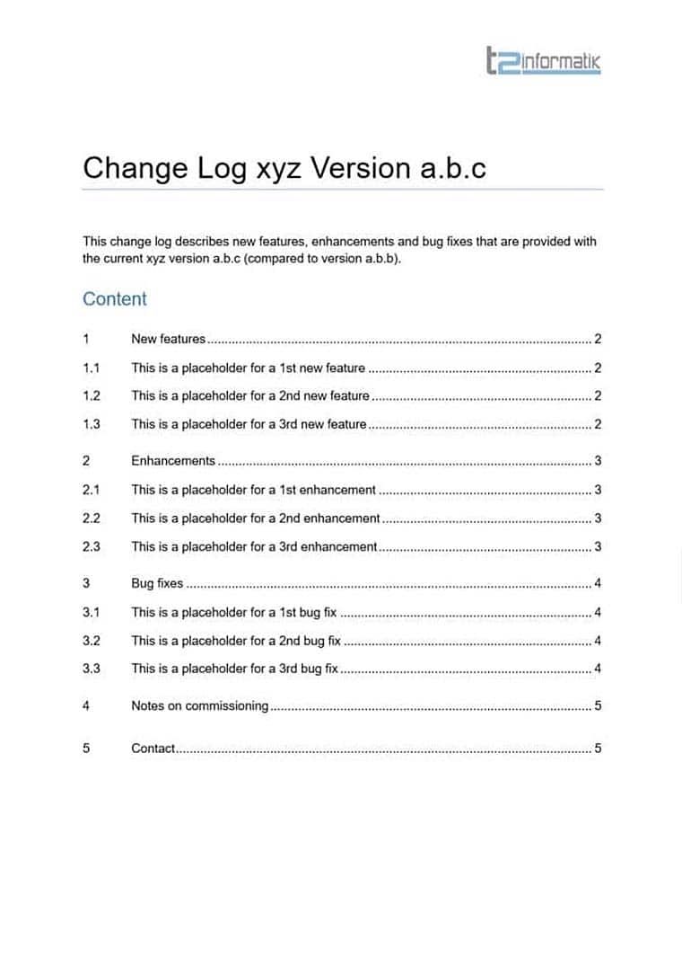 Change Log Template for free