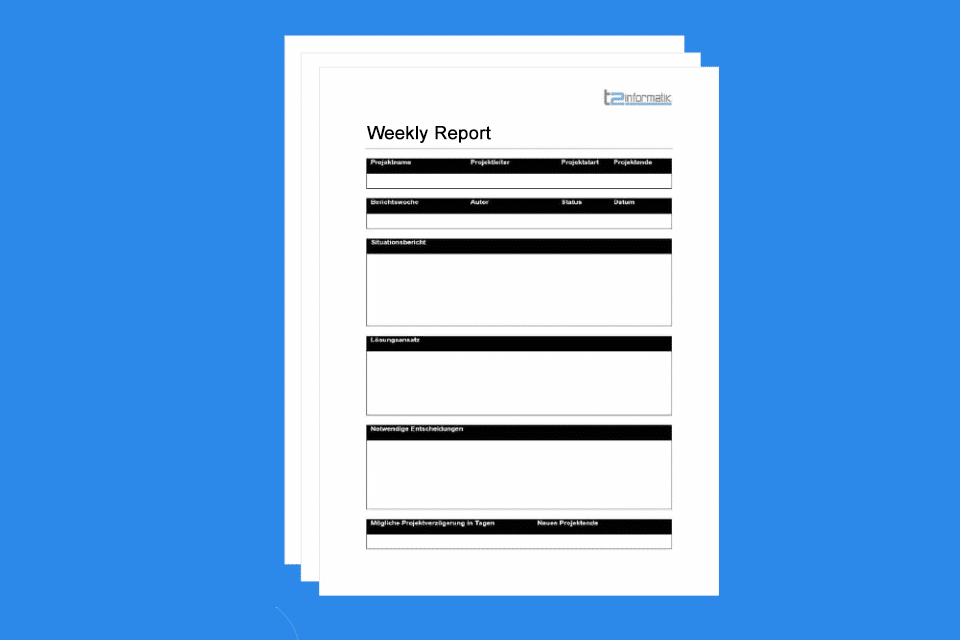 Weekly Report - project information documented on a weekly basis