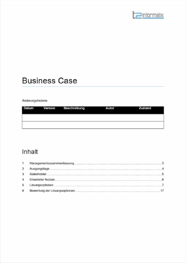 Business Case Vorlage