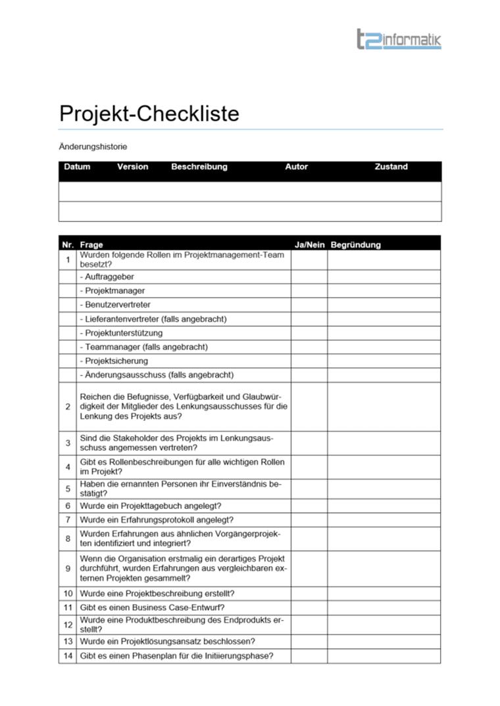 Projekt-Checkliste Vorlage – Downloads – t2informatik