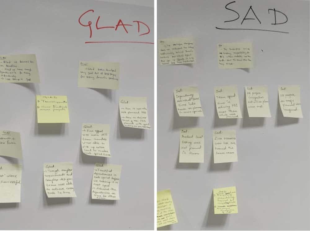 """Die """"glücklichen"""" und """"traurigen"""" Ergebnisse der Retrospektive"""
