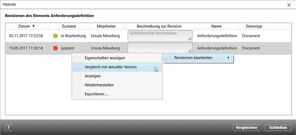 Versionshistorie eines Dokuments, Beispiel aus objectiF RPM der microTOOL GmbH