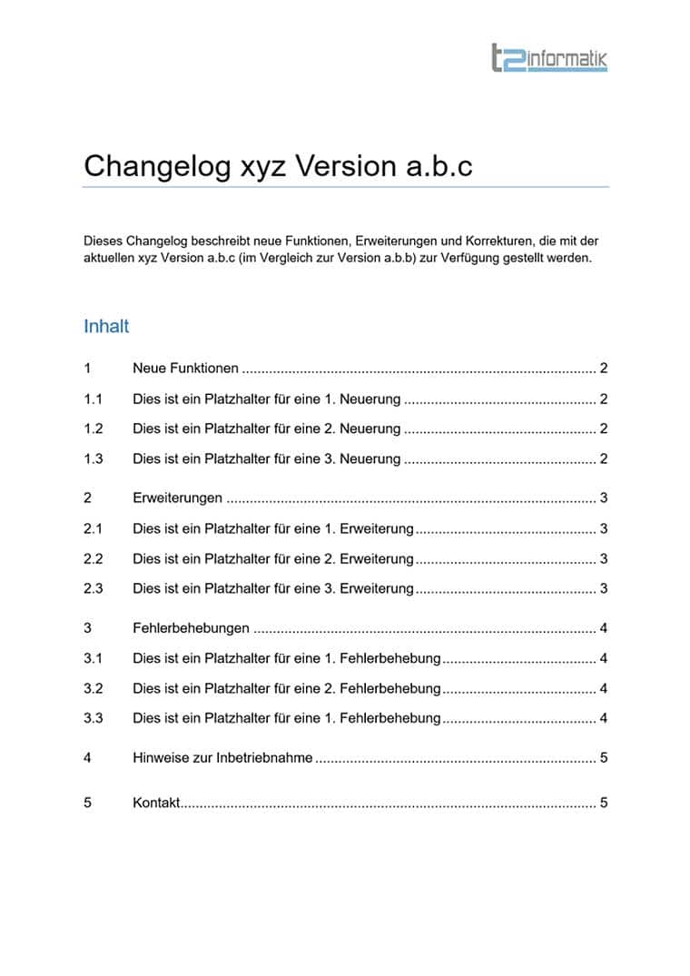 Changelog-Vorlage als Download