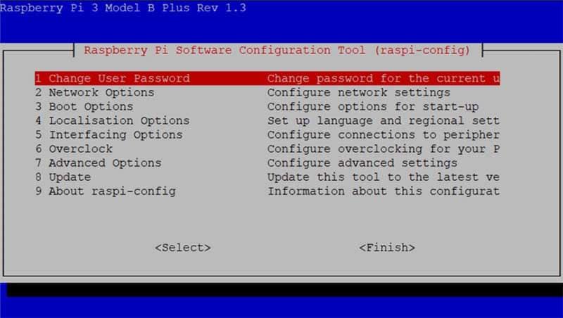 Das Raspberry Pi Konfigurationsmenü