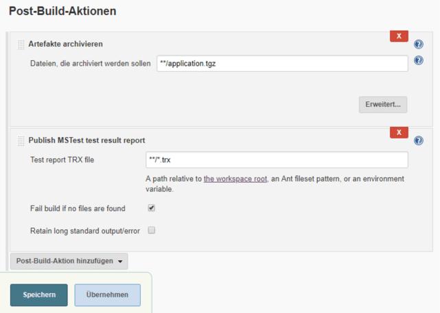 "Post-Build-Aktionen im Projekt ""build-server"""