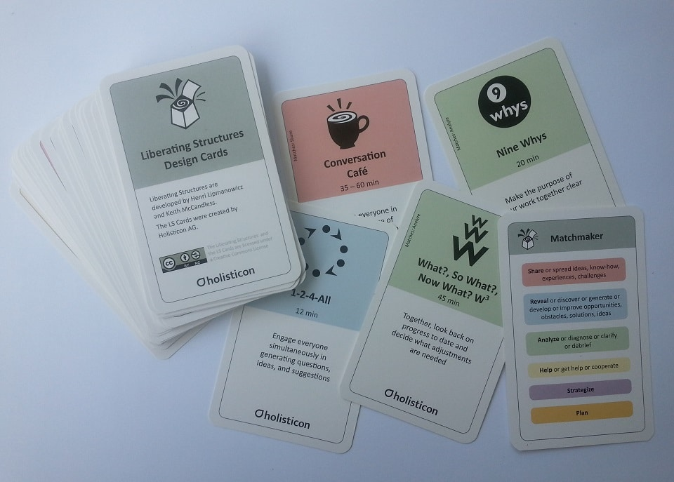 Liberating Structure Design Cards von Holisticon (Bezugsquelle s.u.)
