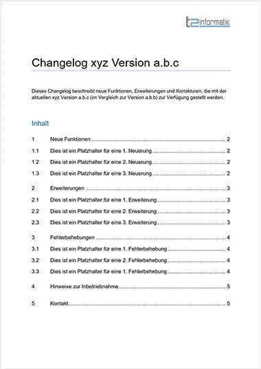 Changelog Vorlage als Download