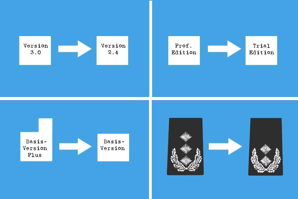 Downgrade - vier verschiedene Beispiele