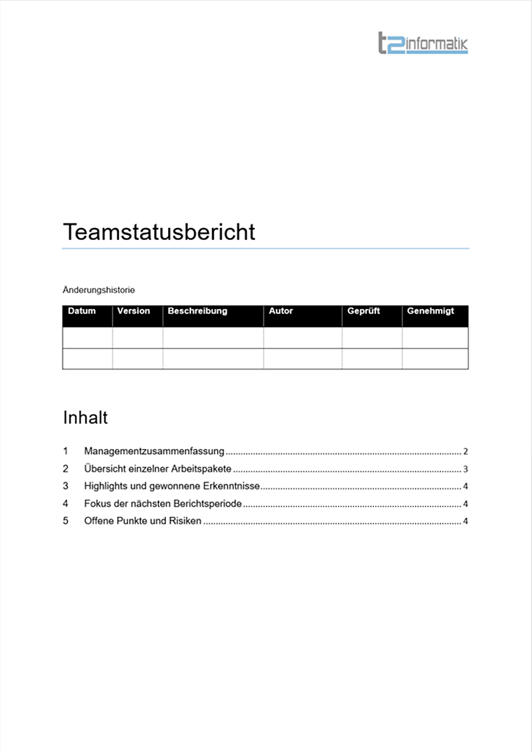 Teamstatusbericht Vorlage Download
