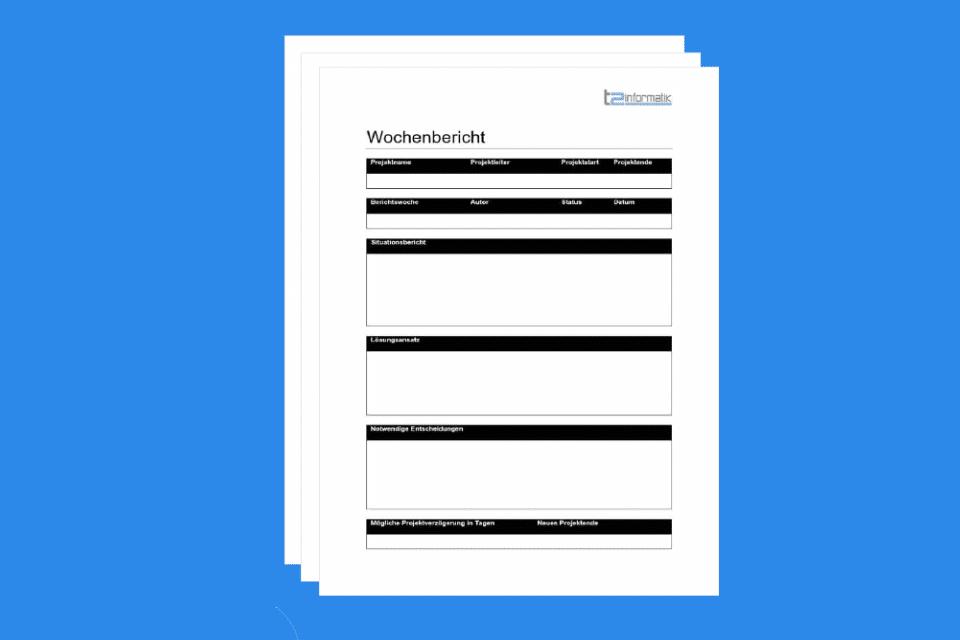 Wochenbericht - die wöchentliche Dokumentation von Projektinformationen